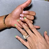 Hailey Baldwin With Neon Green French Manicure
