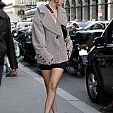 Bella Hadid Wearing Blazer and Biker Shorts in Paris