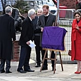 Meghan Markle Red and Purple Outfit Birkenhead January 2018