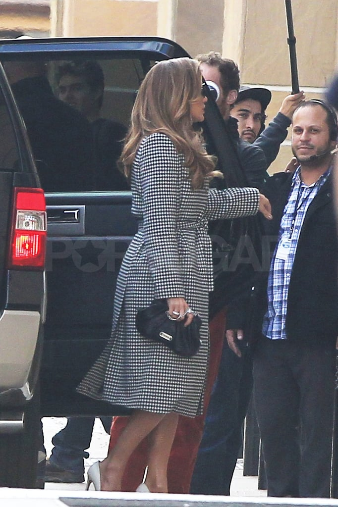 J Lo arrived with cameras rolling the moment she stepped out of her car.