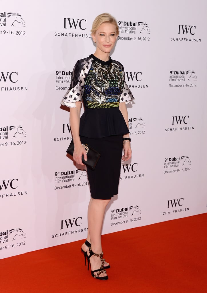 Cate Blanchett looked every bit the regal A-lister in Peter Pilotto's printed peplum top, which she paired with a black pencil skirt and strappy heels.
