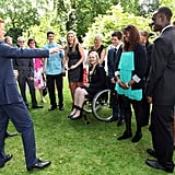 Prince Harry kept the athletes entertained.