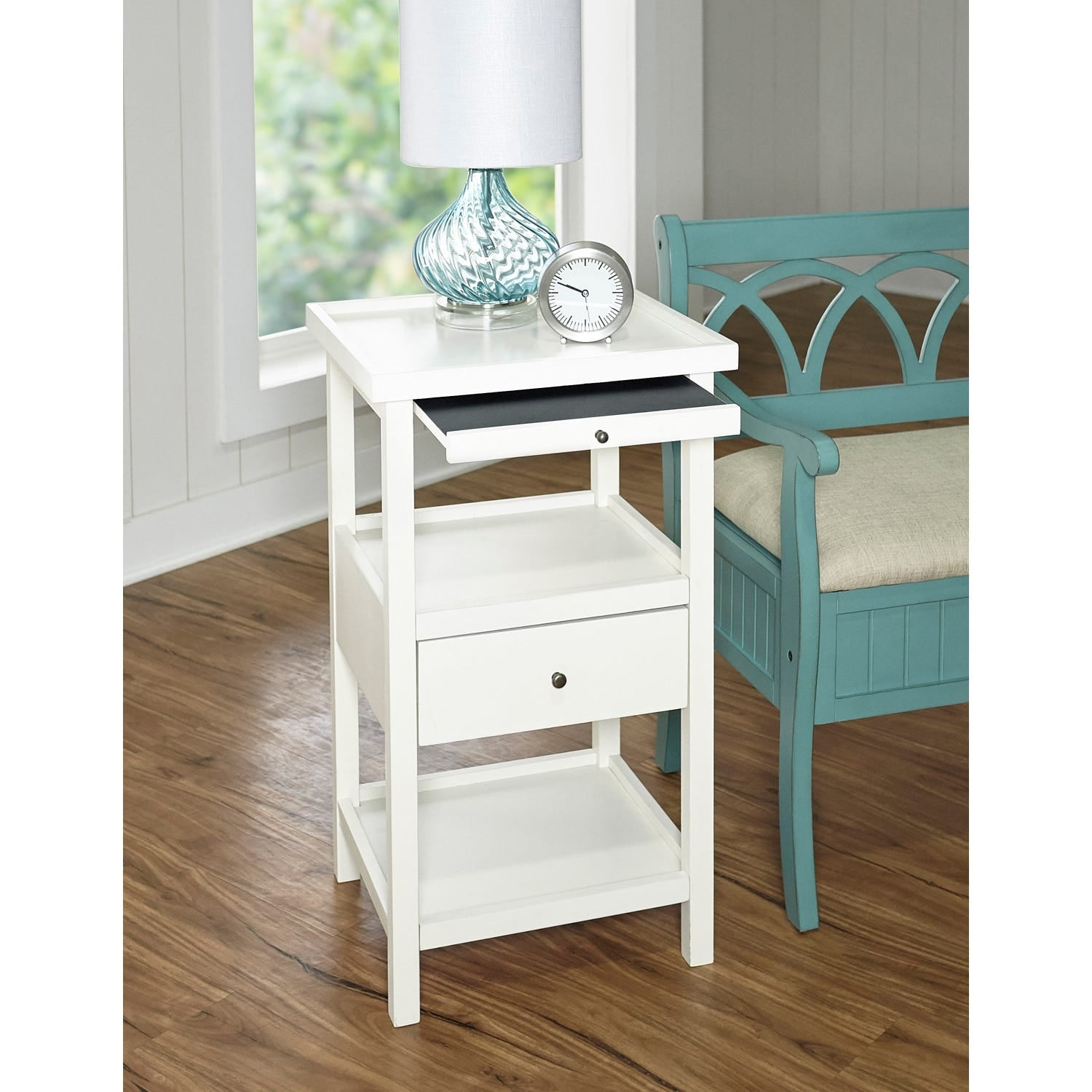 - Palmer White Accent Table With Shelf Small Space Cramping Your