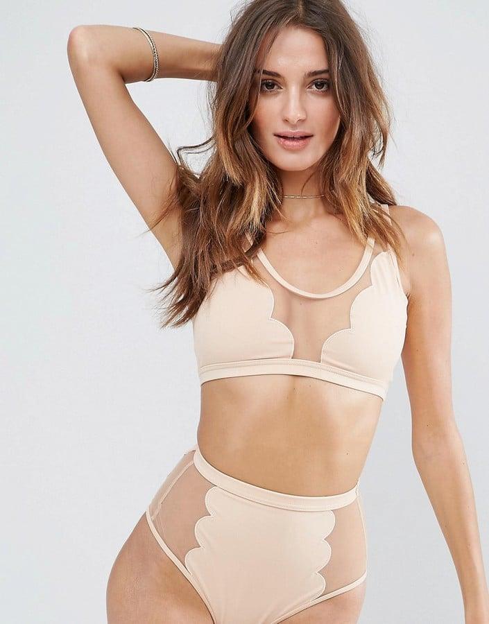ASOS Scallop Mesh Insert Bikini