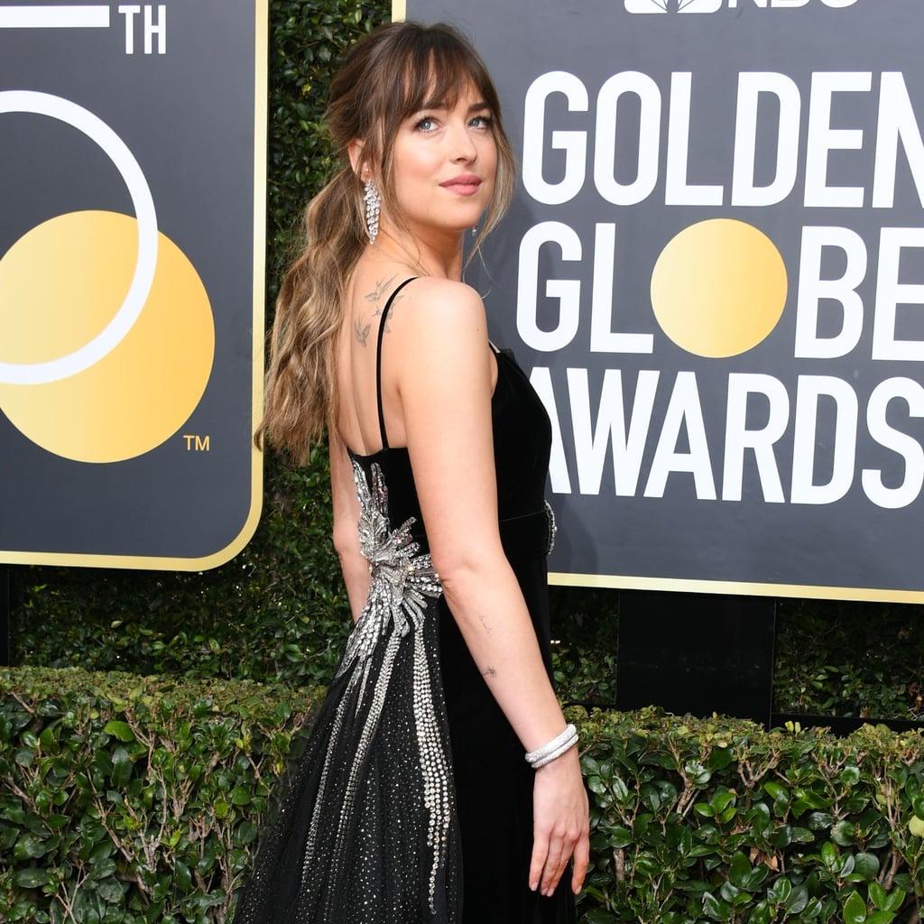 Dakota Johnson Gucci Dress At The Golden Globes 2018 POPSUGAR Fashion
