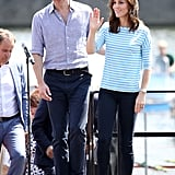 In July 2017, Kate once again opted for her go-to trainers when she and William attended a rowing race during their official visit to Germany.