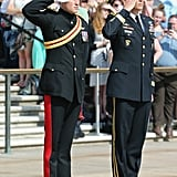 Prince Harry saluted at Arlington National Cemetery.