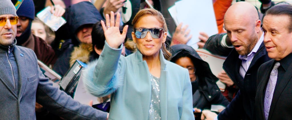 Jennifer Lopez's Blue Sparkly Jumpsuit 2018