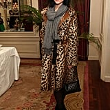 Leigh Lezark opted for a luxe leopard-print coat, black tights, and essential booties.