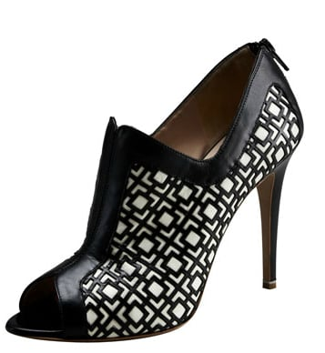 How chic is this modern-meets-art deco print? We love its versatility for both work-appropriate ensembles and nights out on the town. Nicholas Kirkwood Optical bootie ($995)