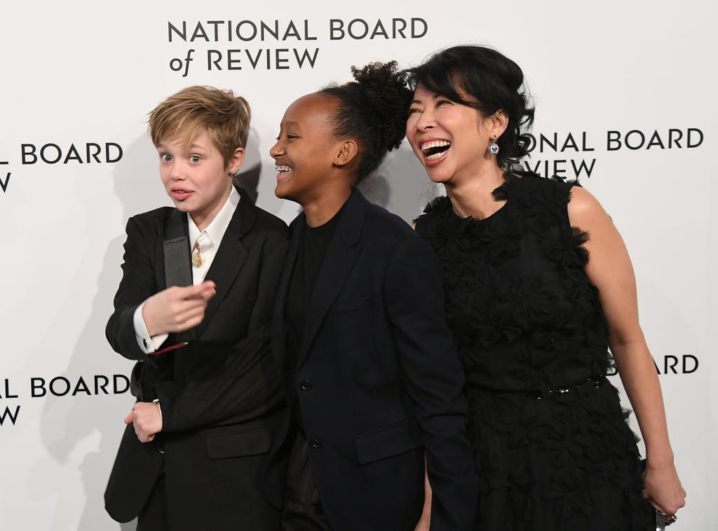 Shiloh and Zahara Jolie-Pitt, and Loung Ung at the National Board of Review Awards Gala