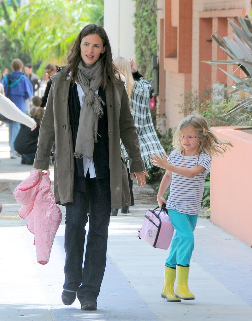 Jennifer Garner and Violet Affleck had a little pep in their step skipping back to their car in Santa Monica yesterday. The girls are back to their daily routine after a camping trip with friends over the weekend. Jen's still holding strong as one of your favorite celebrity moms in the PopSugar 100, though her handsome husband Ben Affleck could use some help if he's going to surge ahead of Robert Pattinson and Brad Pitt in the sexiest celebrity men race. Don't forget there's still plenty of time to vote and enter for your chance to win a Chanel bag, an Hermes Kelly, an Hermes bracelet or a Rolex watch!