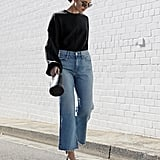 Wear Your Slashed Jeans With a Black Bucket Bag and Pumps, Instead of Sandals and a Clutch