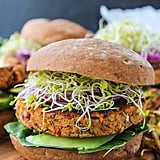 Sweet-Potato-Chickpea Burgers With Yogurt-Tahini Sauce