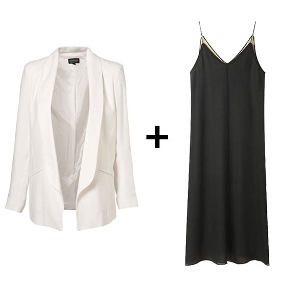 We love the effect of menswear-inspired pieces (like this minimalist tuxedo blazer) styled with overtly girlie wares. For a sleek, albeit supereasy, cocktail-perfect attire, try pairing a slinky black slipdress with a structured white topper. Get the Look:   Topshop Drape Longline Blazer ($130)  T by Alexander Wang Slip Dress ($295)
