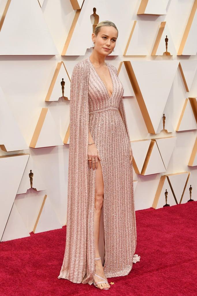 Brie Larson's Celine Cape Dress Oscars 2020   Photos
