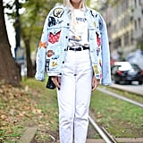 A Patwork Denim Jacket and White Jeans