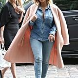 During Paris Fashion Week, Kim Kardashian met friends at the restaurant La Société for lunch on Tuesday.