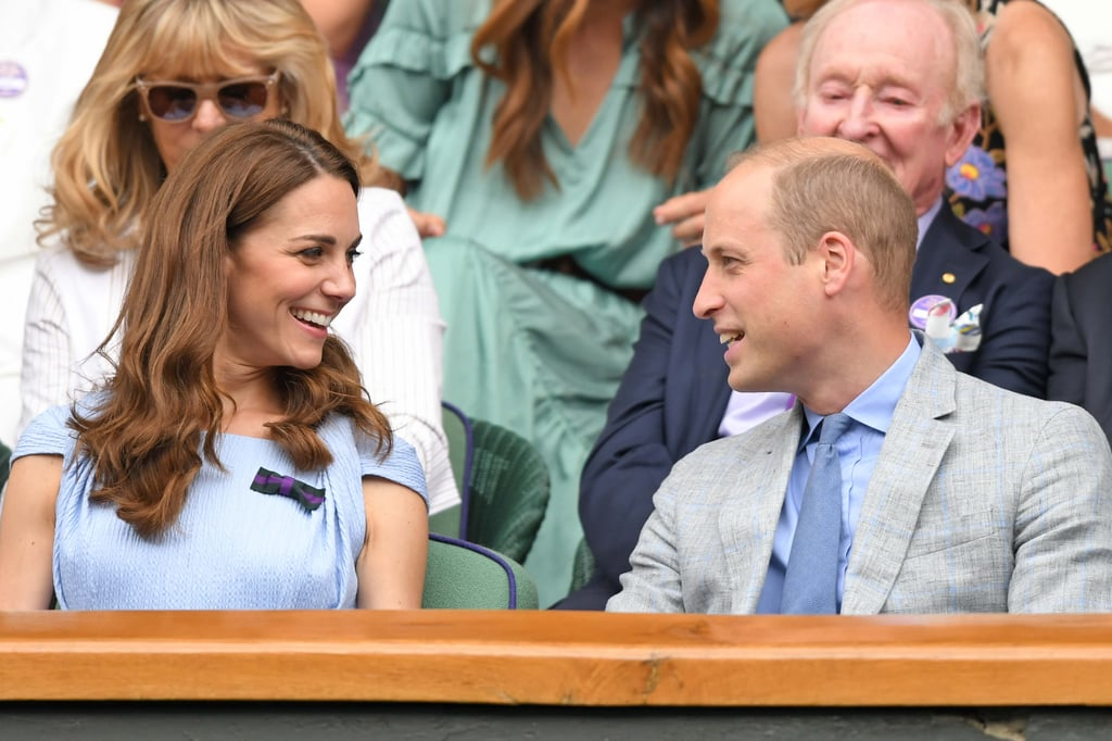 July: Kate and Will got pretty animated as they attended Wimbledon.