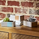 Rivet Urban Concrete Rectangle Gold Blue White Jewelry Boxes