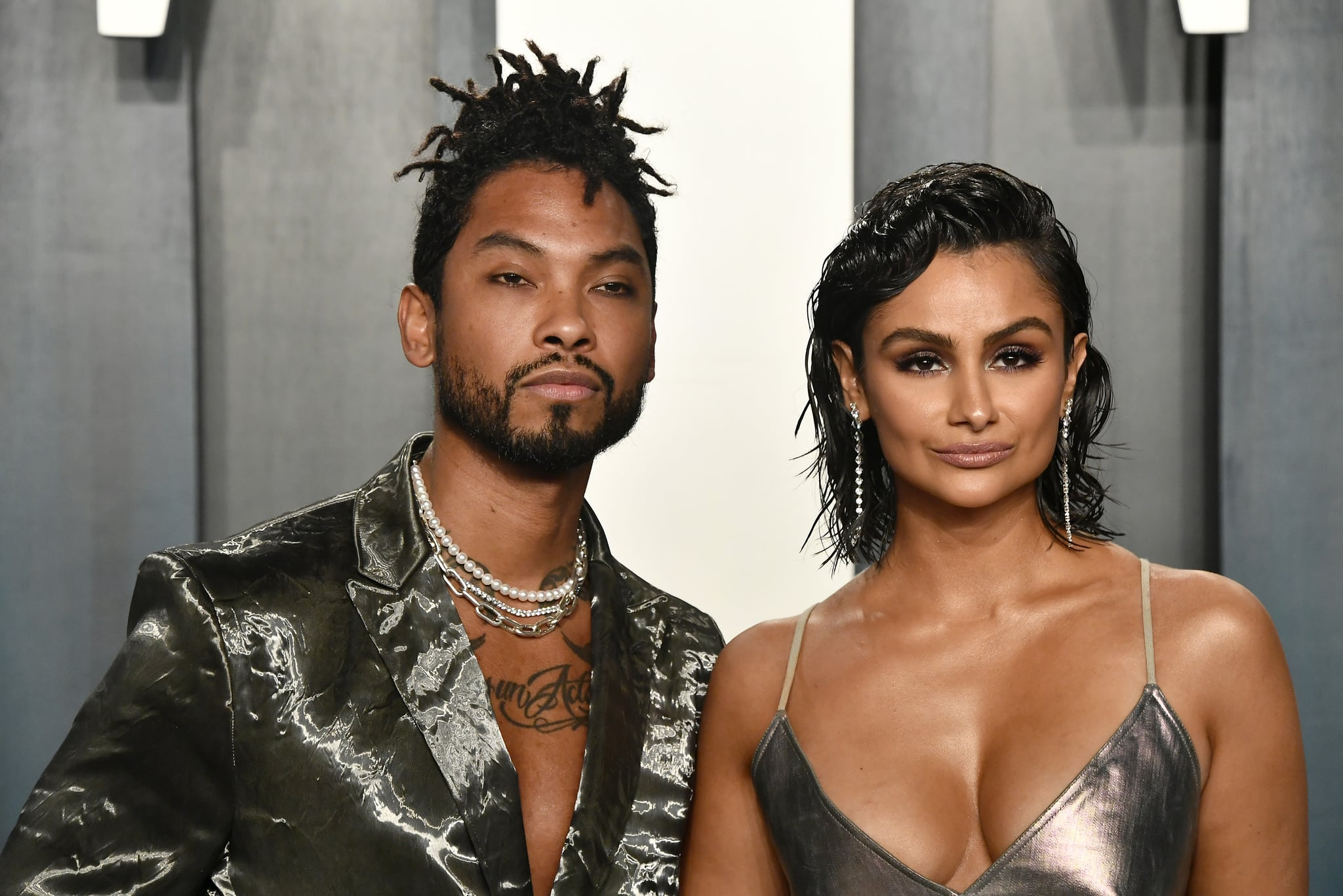 BEVERLY HILLS, CALIFORNIA - FEBRUARY 09: (L-R) Miguel and Nazanin Mandi attend the 2020 Vanity Fair Oscar Party hosted by Radhika Jones at Wallis Annenberg Centre for the Performing Arts on February 09, 2020 in Beverly Hills, California. (Photo by Frazer Harrison/Getty Images)