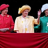 Elizabeth and Margaret looked like a royal stoplight alongside the Queen Mother in 1995.