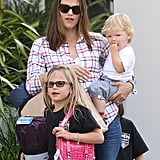 Jennifer Garner shopped in LA on Friday with Seraphina and Sam Affleck.