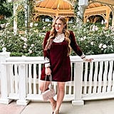 A Holiday Appropriate Velvet Minidress With Pointed Party Flats