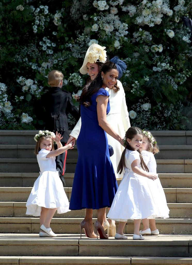 Jessica Wearing the Blue Di Carlo Couture Dress to the 2018 Royal Wedding