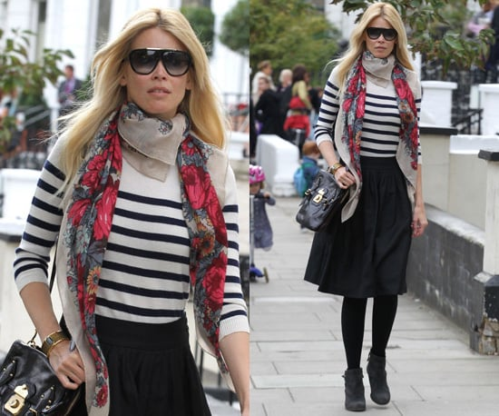 Photos of Claudia Schiffer in Nautical Top with Black Cross Body Bag