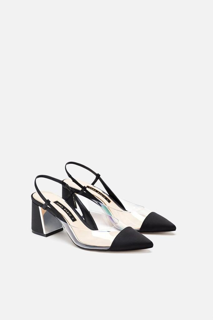 74ec27e8c66 Zara Heeled Slingback Vinyl Shoe
