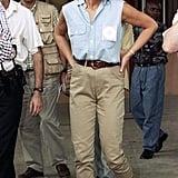 Sleeveless Chambray Shirt and Cropped Chinos