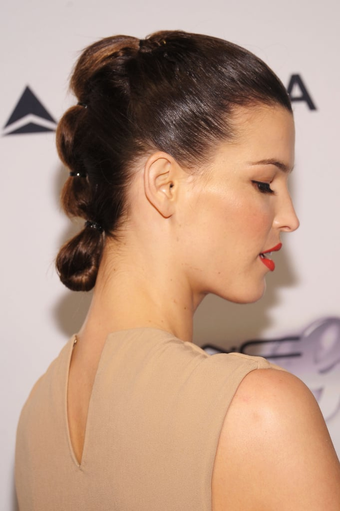 . . . but the back of her hair was a beautifully modern updo.