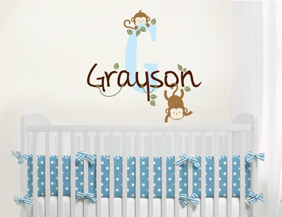 A Baby Wall Monkey Monogram Decal ($37)