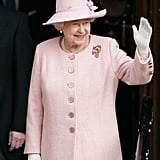 Queen Elizabeth II waved as she left Manchester Town Hall after a visit as part of her Diamond Jubilee Tour of the UK.