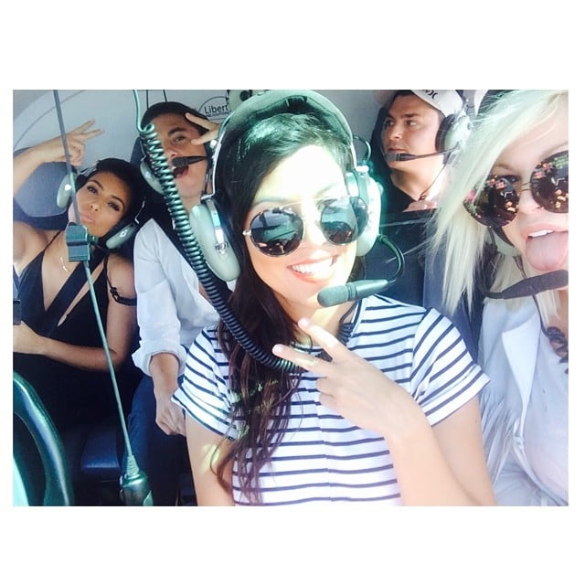 Kim and Kourtney Kardashian were part of a #HeliSelfie in the Hamptons. Source: Instagram user kimkardashian