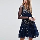 ASOS Floral Sparkle Embellished Tulle Mini Dress