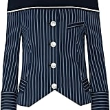 Pierre Balmain Off-the-Shoulder Striped Ribbed-Trimmed Cotton-Blend Jacket