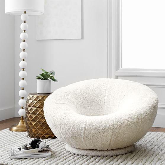 Ivory Sherpa Faux-Fur Groovy Swivel Chair