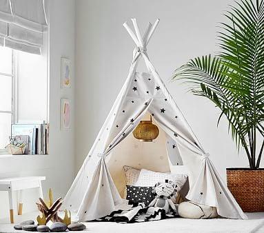 The Emily & Meritt White With Black Stars Mini Tent