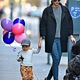 Miranda Kerr and Flynn Bloom held hands while taking a stroll through NYC.