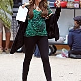 Sofia Vergara rocked heels on the set of Modern Family.