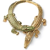 This crocodile necklace was a special order for Maria Felix in 1975, made entirely of gold, 1,023 yellow diamonds, emerald and ruby cabochons to make up the eyes, and 1,060 emeralds for the other crocodile. Interesting to note: Maria Felix actually brought in a baby crocodile so the jeweler could make it exactly right.