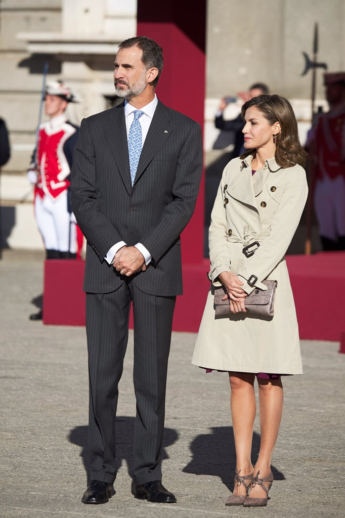 Queen Letizia Paired Her Trench Coat With an Unexpected Heel — and It Totally Works