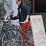 Matthew Bellamy bike riding in London.