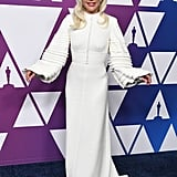 Lady Gaga White Dress at Oscar Nominees Luncheon 2019