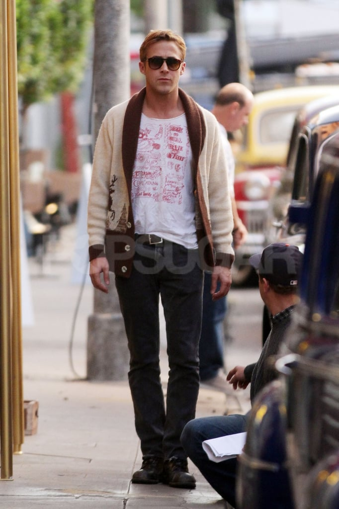 Ryan Gosling headed to the LA set of Gangster Squad.