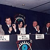 Sandra Bullock sat on a September 1996 ShoWest panel with fellow actors Mel Gibson, John Travolta, Greg Kinnear, Cameron Diaz, and James Robinson.