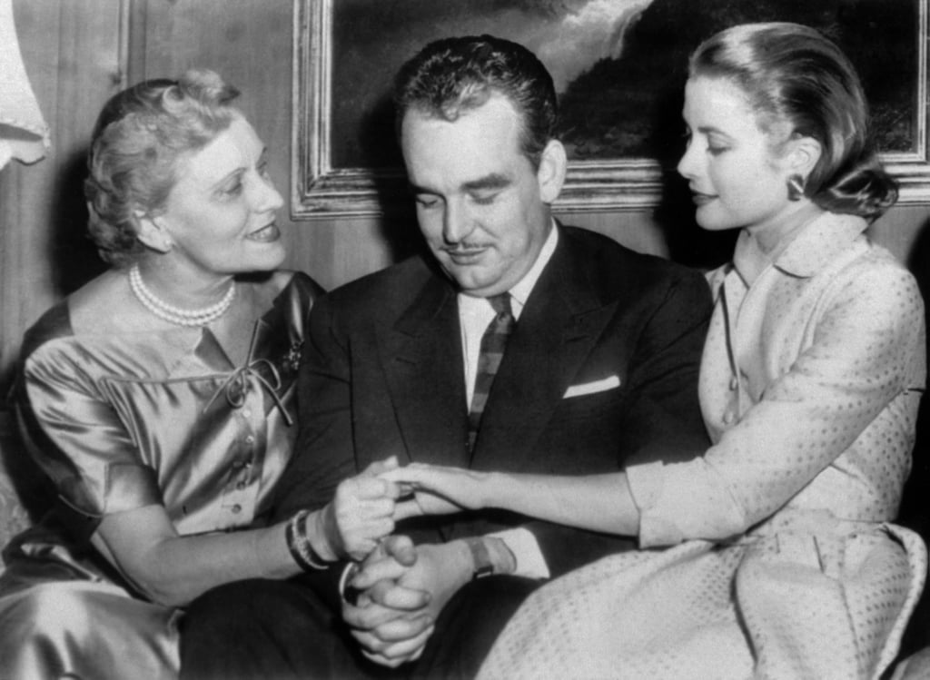 Grace Kelly shows her mother her engagement ring at the Philadelphia