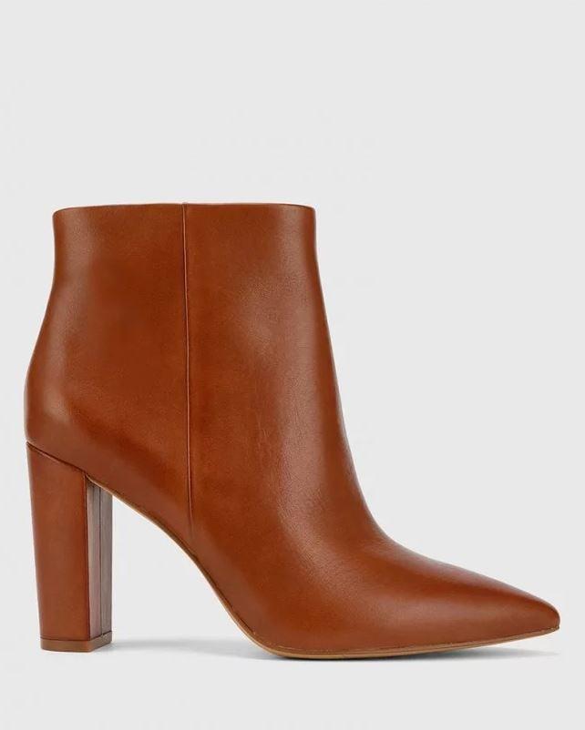 Wittner Hurlie Cognac Premium Nappa Leather Block Heel Ankle Boot ($260)